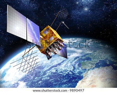 The Global Positioning System (GPS) is a satellite-based navigation system made up of a network of 24 satellites placed into orbit by the U.S. Department of Defense. - stock photo