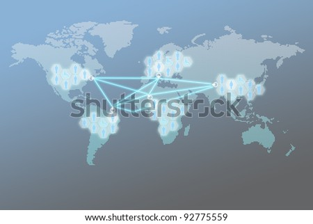 The global social network marketing business concept, can be use for related global business, marketing, and social networking futuristic minimalist concepts