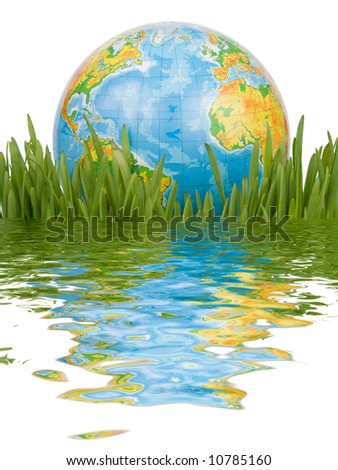 The globe in a green grass with reflexion in water isolated on a white background. Clipping path included.