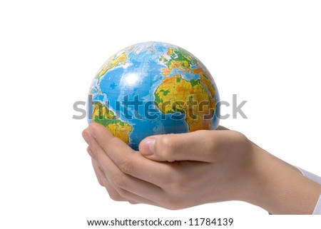 The globe in children's hands. Concept for environment conservation. Clipping path included. - stock photo