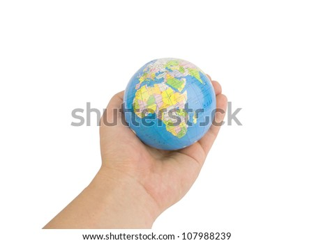 The globe in hands isolated on white. World care concept