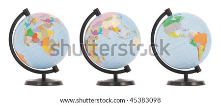 The globe in three positions. On white background. - stock photo