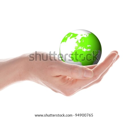 the globe in your hands concept with planet earth isolated on white