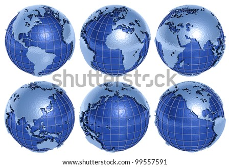 The globe of the Planet Earth in six sides on a white background. - stock photo