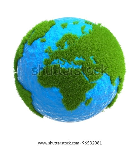 the globe with the continents located on it from the green grass - stock photo