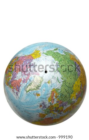 The globe with USA and Russia