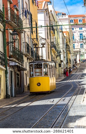 The Gloria Funicular in the city center of Lisbon, Portugal