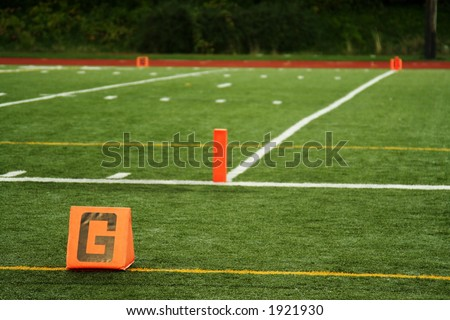 The goal line on a football field - stock photo