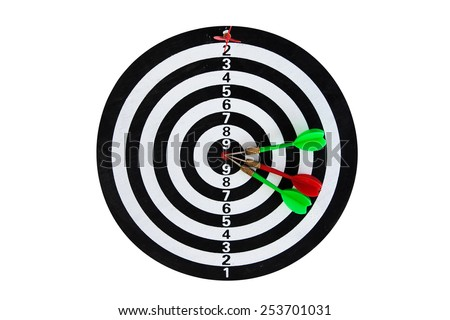 The goal of business is intended to accomplish as a team darts on dark gray background with arrows, middle target and one red dart win number one - stock photo