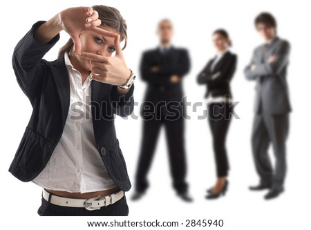 The goal - Young attractive business people - businesswoman in focus - stock photo