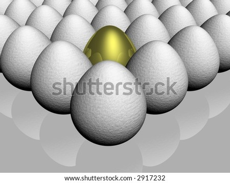 The gold egg among of some glass - stock photo