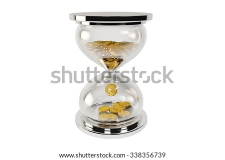 The gold in drop on hourglass, time and money concept.