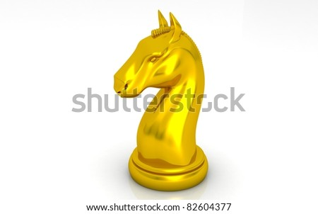 The gold knight chess piece on white background - stock photo