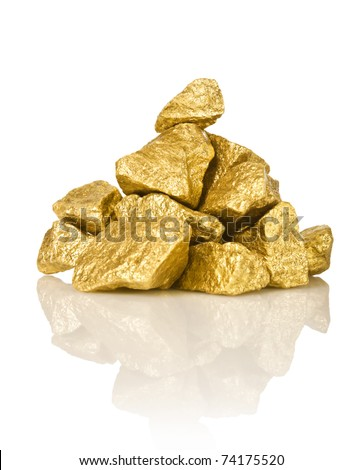 The gold nuggets isolated on white