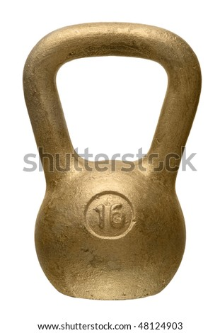 The gold weight on a white background - stock photo
