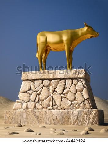 The golden calf as described in the book of Exodus - stock photo
