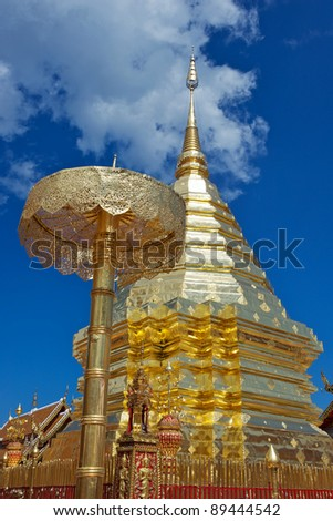 The golden Chedi at Doi Suthep Buddhist temple in Chiang Mai, Thailand.