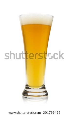 the golden color of a cold wheat beer on a white background - stock photo