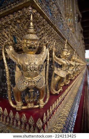 The golden garuda statues at Grand Palace(called in Thai name Wat Phra Kaew) on 2014 in Bangkok, Thailand.