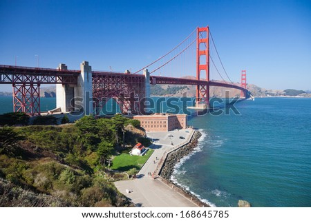 The Golden Gate Bridge and Fort Point - stock photo