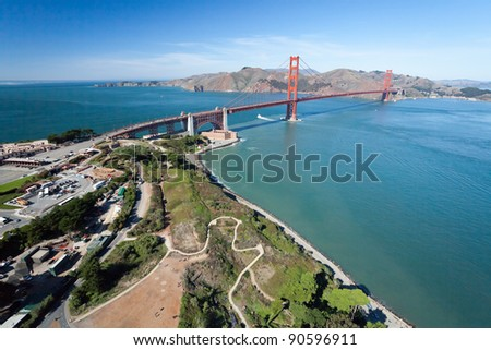The Golden Gate Bridge and Fort Point aerial view - stock photo