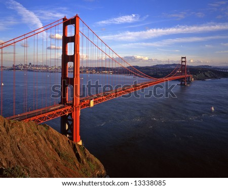 The Golden Gate Bridge and San Francisco, photographed from the Marin Headlands. - stock photo