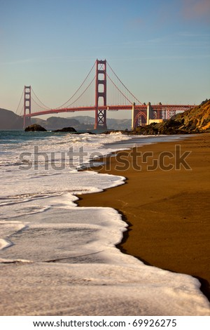 The Golden Gate Bridge from Baker Beach in San Francisco California - stock photo