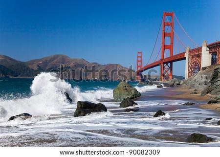 The Golden Gate Bridge in San Francisco bay - stock photo