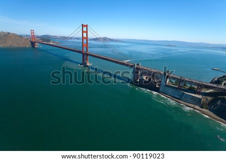The Golden Gate Bridge in San Francisco bay aerial view - stock photo