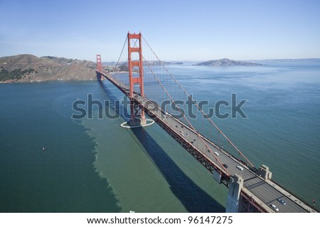 The Golden Gate Bridge in San Francisco bay Aerial view