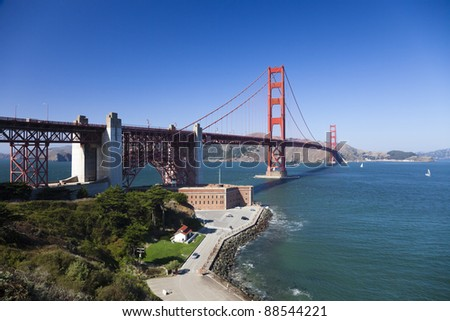 The Golden Gate Bridge in San Francisco bay and Fort Point