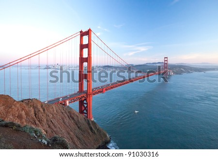 The Golden Gate Bridge in San Francisco bay at dusk - stock photo