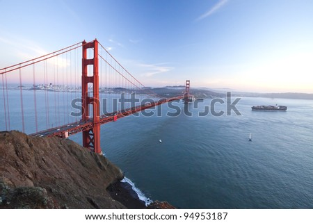 The Golden Gate Bridge in San Francisco bay at twilight