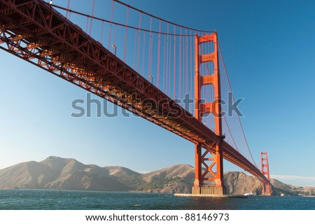 The Golden Gate Bridge in San Francisco during the sunset with beautiful azure ocean in background - stock photo