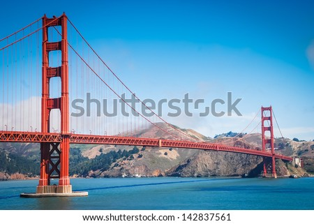 The Golden Gate Bridge in San Francisco taken in July 2007 - stock photo