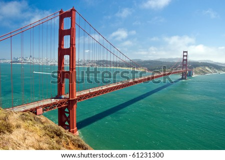 The Golden Gate Bridge in San Francisco with beautiful azure ocean in background - stock photo
