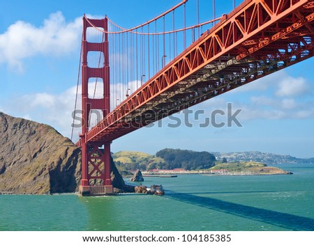 The Golden Gate Bridge in San Francisco with beautiful ocean in background - stock photo