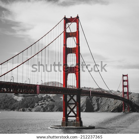 The golden gate bridge on black and white  - stock photo