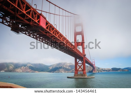 The Golden Gate Bridge shrouded in mist/fog taken in 2007