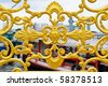 The golden iron bar of thai design on wat arunratchawararam pier at bangkok Thailand - stock photo