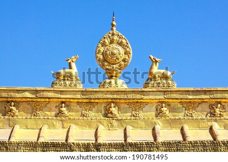 The Golden sculpture of Tibet architecture (Lhasa, TIbet) - stock photo