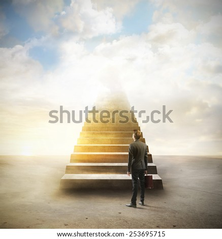 The golden staircase  - stock photo