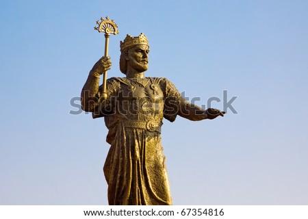 The golden statue of Ismoili Somoni in Tursunzoda, Tajikistan - stock photo