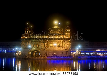 The Golden Temple by night, Amritsar, Punjab, India