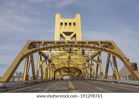 The Golden Tower Bridge at Sacramento, USA - stock photo