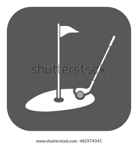 The golf icon. Sport symbol. Flat  illustration. Button