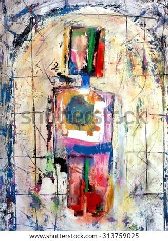 The Good Boy Original Abstract Painting - stock photo