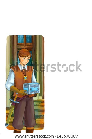 The goose-girl at the well - elements - hamelin -Prince or princess - castles - knights and fairies - illustration for the children - stock photo
