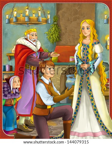 The goose-girl at the well - hamelin -Prince or princess - castles - knights and fairies - illustration for the children - stock photo