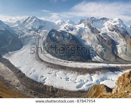 The Gorner Glacier (Gornergletscher) in Switzerland is the second largest glacier in the Alps. - stock photo